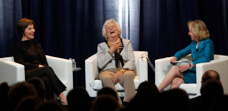 "Former first ladies Laura Bush and Barbara Bush share a light moment with moderator Doris Kearns Goodwin (right) during a discussion Monday that was part of the conference ""America's First Ladies: An Enduring Vision"" at SMU in Dallas. (Associated Press)"