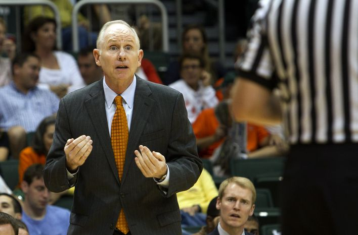 Coach Jim Larranaga and his Miami basketball team could use a win or two in the ACC tournament to improve their NCAA resume. (AP Photo/J Pat Carter)