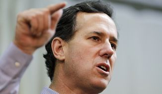 Republican presidential candidate and former Pennsylvania Sen. Rick Santorum speaks March 5, 2012, at the American Legion in Westerville, Ohio. (Associated Press)