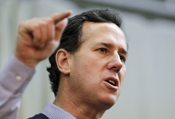 Republican presidential candidate and former Pennsylvania Sen. Rick Santorum speaks March 5, 2012, at the American Legion in Westerville, Ohio. (Associated Pre