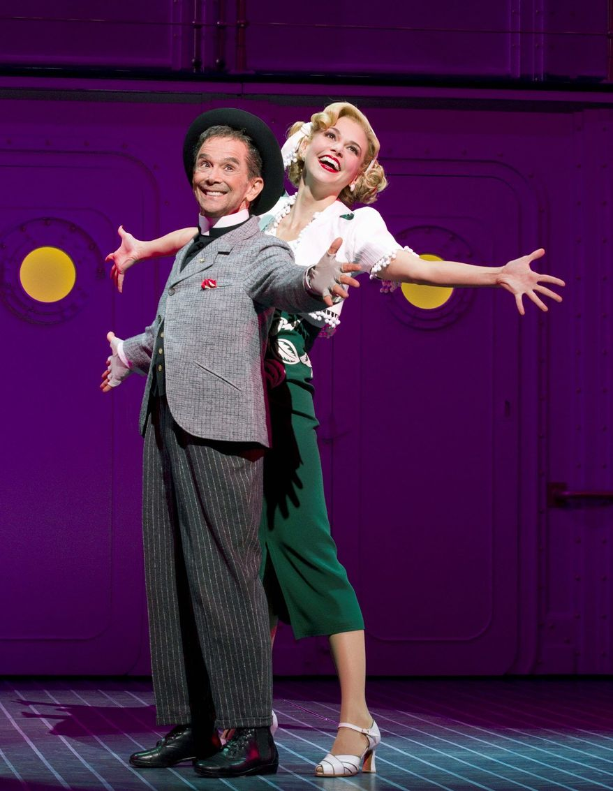 """In this theater publicity image released by Boneau/Bryan-Brown, Joel Grey, left, and Sutton Foster are shown during a performance of """"Anything Goes,"""" in New York. The Broadway cast recordings of """"The Book of Mormon,"""" """"Anything Goes"""" and """"How to Succeed in Business Without Really Trying"""" each earned Grammy nominations Wednesday night, an eclectic group of musicals that are still going strong. (AP Photo/Boneau/Bryan-Brown, Joan Marcus)"""