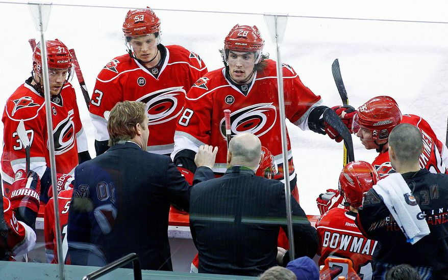 """Kirk Muller (bottom left) has instilled a new attitude in Carolina after replacing Paul Maurice as coach Nov. 28. """"One of his big key focuses is accountability to each other,"""" Hurricanes defenseman Jamie McBain said. (Associated Press)"""