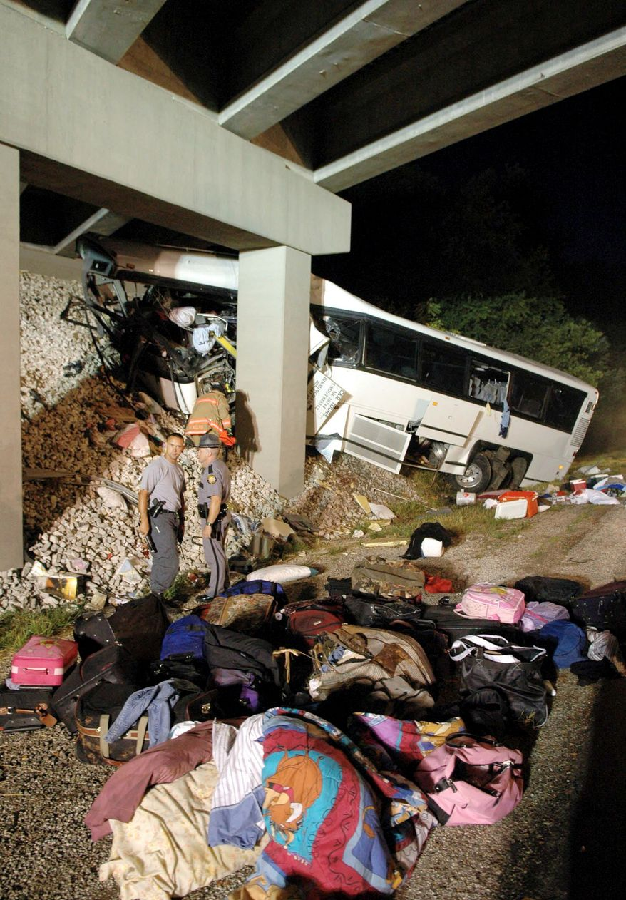 A 2007 bus crash in Kentucky was blamed on a driver who dozed off. A study by the National Sleep Foundation finds that transportation operators are sleepier than the average American employee, although bus operators are less likely to be suffering from a lack of sleep than pilots, train engineers and truck drivers. (Bowling Green (Ky.) Daily News via Associated Press)