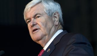 Republican presidential candidate, former House Speaker Newt Gingrich speaks at the U.S. Space and Rocket Center, Tuesday, March 6, 2012, in Huntsville, Ala. Gingrich has won the Georgia Republican primary. (AP Photo/Evan Vucci)