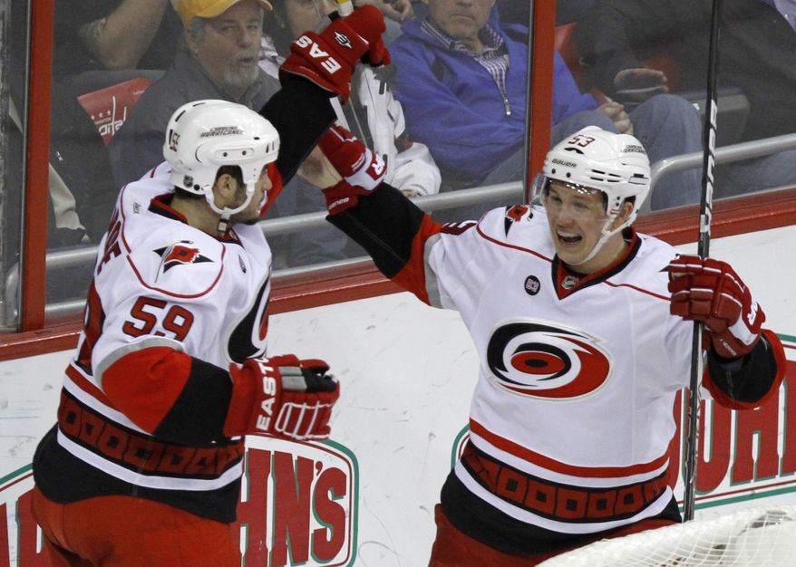Carolina Hurricanes right wing Chad LaRose celebrates with left wing Jeff Skinner after scoring in the second period at Verizon Center in Washington on Tuesday, March 6, 2012. (AP Photo/Jacquelyn Martin)