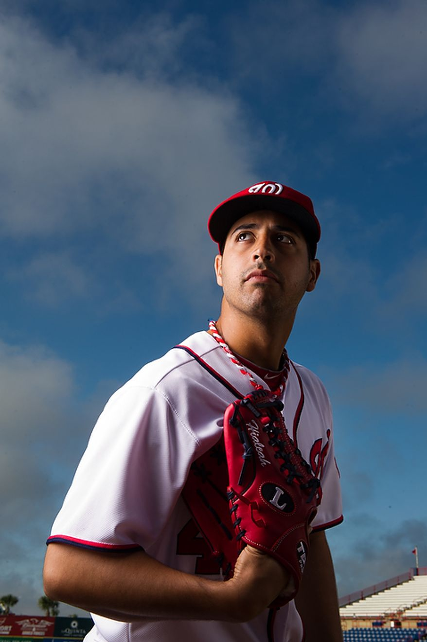 Washington Nationals starting pitcher Gio Gonzalez (47) poses for a portrait during photo day at spring training, Viera, Fla., Tuesday, February 28, 2012. (Andrew Harnik/The Washington Times)