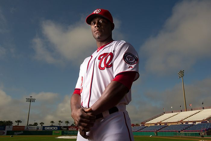 Washington Nationals center fielder Roger Bernadina (2) poses for a portrait during photo day at spring training, Viera, Fla., Tuesday, February 28, 2012. (Andrew