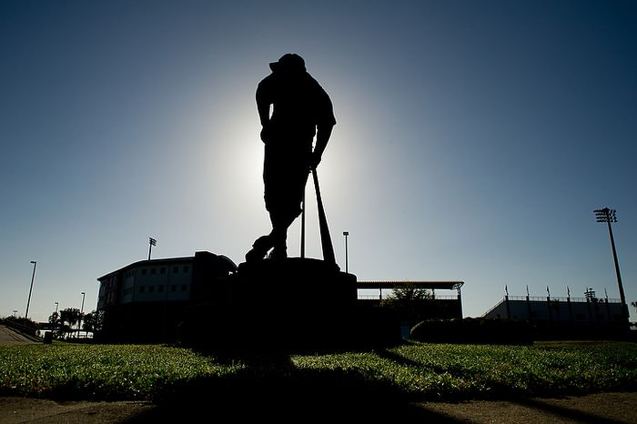 A Casey at the Bat statue based on a baseball poem written in 1888 by Ernest Thayer looms over Space Coast Stadium where the Washington Nationals practice during spring training, Viera, Fla., Wednesday, Feb. 29, 2012. (Andrew Harnik/The Washington Times)