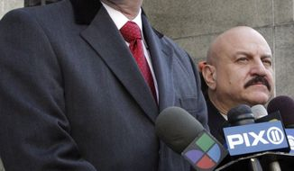 Peter Gleason (left), a lawyer for Anna Gristina, who is charged with promoting prostitution, is joined by private investigator Vincent Parco at a press conference following a court hearing on Tuesday, March 6, 2012, in New York. (AP Photo/Bebeto Matthews)