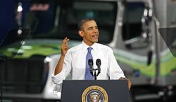 President Obama speaks during a visit to the Daimler Trucks North America Mount Holly Truck Manufacturing Plant in Mount Holly, N.C., Wednesday, March 7, 2012. (AP Photo/Gerry Broome)