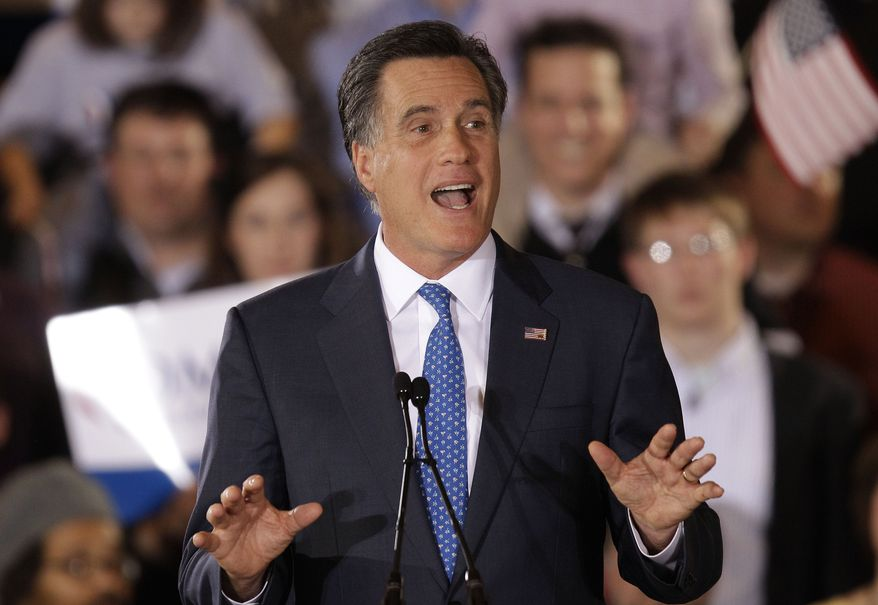 Republican presidential candidate, former Massachusetts Gov. Mitt Romney addresses supporters at his Super Tuesday campaign rally in Boston, Tuesday night, March 6, 2012. (AP Photo/Stephan Savoia)