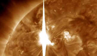 This handout image provided by NASA shows a solar flare heading toward Earth. (Associated Press/NASA)