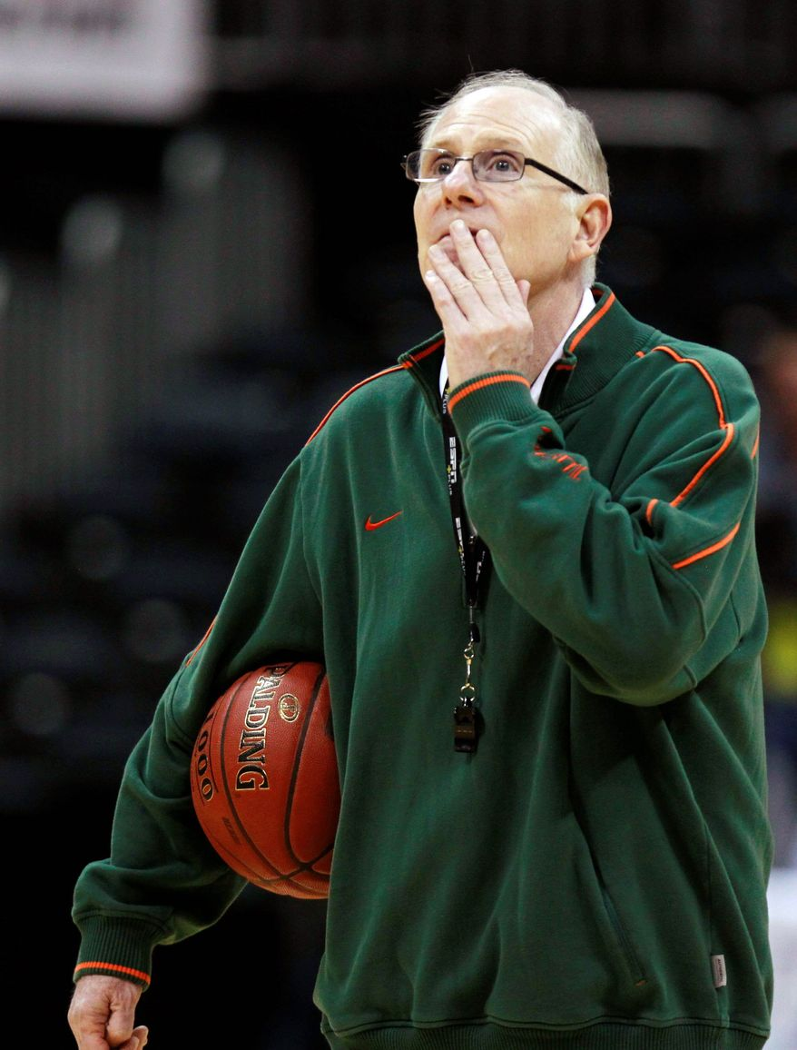 Jim Larranaga, in his first year at Miami after a successful stint at George Mason, has the Hurricanes in play for an NCAA bid. (Associated Press)