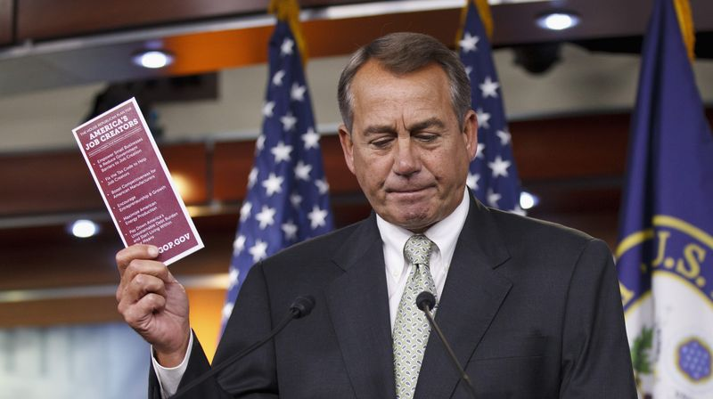 House Speaker John A. Boehner, Ohio Republican, said that conversations would continue in the House about a longer term approach to the nation's transportation needs. For now, he said he is willing to take up a Senate transportation bill. (Associated Press)