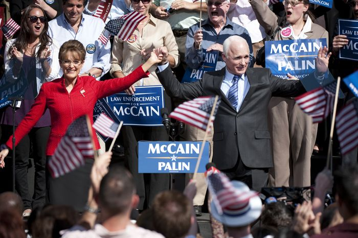 "Julianne Moore and Ed Harris portray Sarah Palin and John McCain in the 2008 presidential campaign in HBO's ""Game Change."" (Photo courtesy HBO)"
