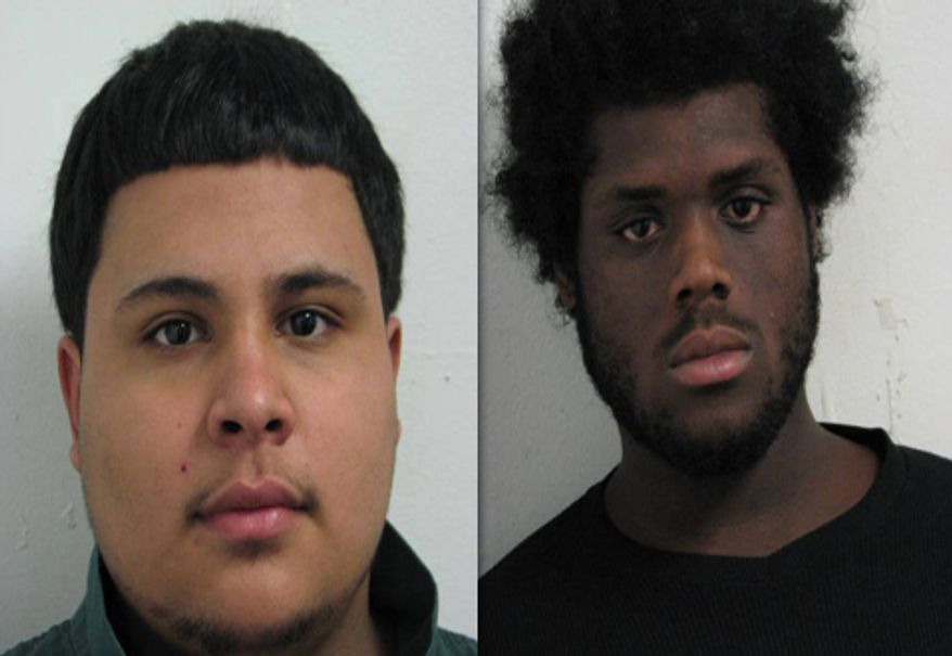 Andrew Ramos (left) was charged with reckless endangerment in connection with a fatal shooting in Aspen Hill on Wednesday. Christopher Edwards (right) was charged with second-degree murder and reckless endangerment in connection with the crime.