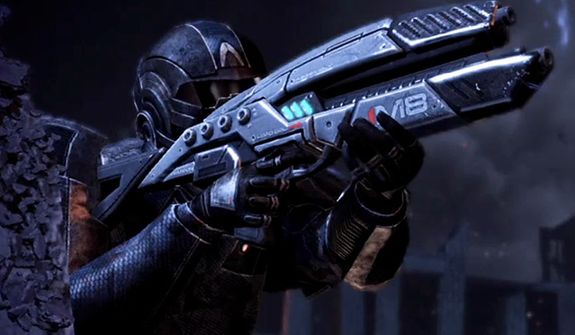 Use a variety of weapons to stop the Reapers in the video game Mass Effect 3.