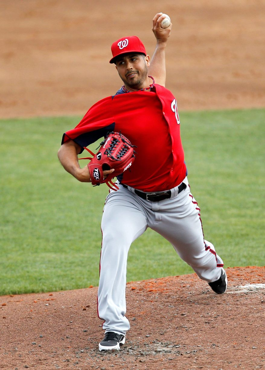 Nationals left-hander Gio Gonzalez, shown March 6, allowed two hits in four scoreless innings against St. Louis on Sunday. Gonzalez threw 36 of his 51 pitches for strikes. (Associated Press)
