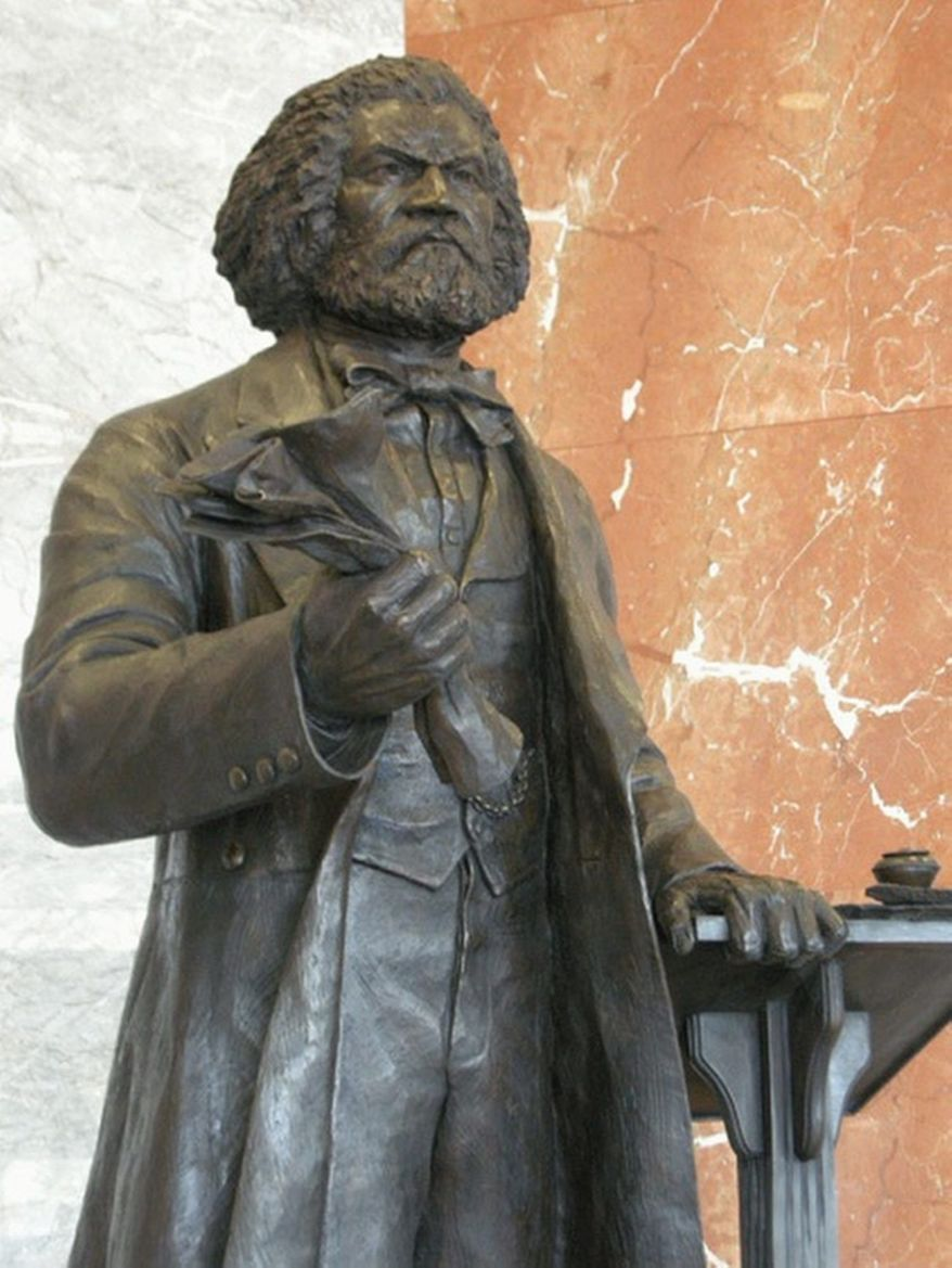 """A 7-foot bronze statue of abolitionist Frederick Douglass created as a gift to the U.S. Capitol from the District of Columbia is """"homeless"""" because of a technicality: the statues in National Statuary Hall must originate in states."""