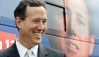 Former Sen. Rick Santorum won union support after helping push through federal funding for new sports stadiums in Pittsburgh and a tunnel leading to them. (Associated Press)