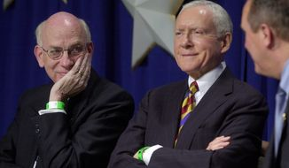In 2004, Sen Robert Bennett (left) and Sen. Orrin G. Hatch participated in the state Republican convention in Sandy, Utah. Disgruntled conservatives planted the seeds for Mr. Bennett's 2010 defeat, and now some of them hope to replicate their success against Mr. Hatch. (Associated Press)