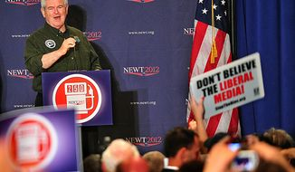 Republican presidential candidate Newt Gingrich speaks during a campaign rally at the Wiregrass Museum of Art in Dothan, Ala., on Saturday, March 10, 2012. (AP Photo/The Dothan Eagle, Jay Hare)