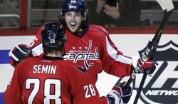Washington Capitals center Mathieu Perreault celebrates his goal with teammate Alexander Semin, who assisted on the play, during the third period, Sunday, March 11, 2012, in Washington. The Capitals defeated the Toronto Maple Leafs 2-0. (AP Photo/Carolyn Kaster)