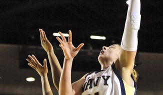 Navy forward Jade Geif shoots against Holy Cross during the second half of the Patriot League championship, Saturday, March 10, 2012, in Annapolis, Md. Navy won 57-48. (AP Photo/The Annapolis Capital, Laura-Chase McGehee)