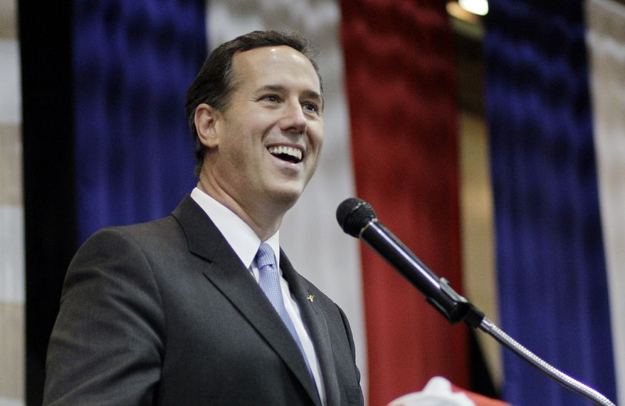 Republican presidential candidate Rick Santorum speaks during the Cape County Republican Women's Lincoln Day Dinner on Saturday, March 10, 2012, in Cape Giradeau, Mo. (AP Photo/Eric Gay)