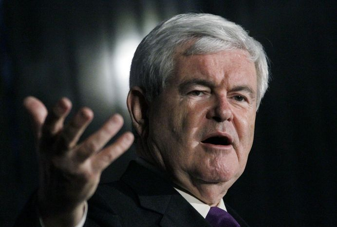 Republican presidential candidate former House Speaker Newt Gingrich speaks at a rally in Brandon, Miss., Sunday evening, March 11, 2012. (AP Photo/Rogelio V. Solis)