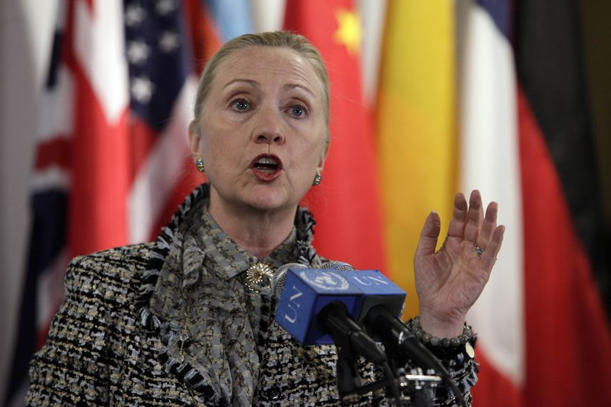 Secretary of State Hillary Rodham Clinton addresses a news conference at United Nations headquarters on March 12, 2012. (Associated Press)