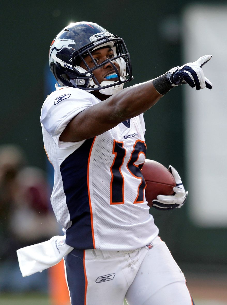 Eddie Royal had 91 catches for 980 yards and five touchdowns as a rookie in 2008 playing under Mike Shanahan. (Associated Press)