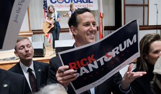 """Republican presidential hopeful Rick Santorum failed to qualify for the ballot in Washington, D.C., and Virginia, allowing front-runner Mitt Romney to pad his delegate lead ahead of August's Republican National Convention. Such mishaps prove """"he is incapable of taking on President Obama's formidable political machine,"""" said Andrea Saul, a Romney spokeswoman. (Associated Press)"""