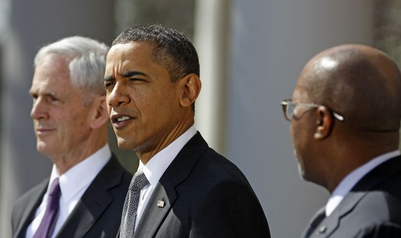 President Obama, accompanied by Commerce Secretary John E. Bryson (left) and U.S. Trade Representative Ron Kirk, speaks in the Rose Garden of the White House in Washington on Tuesday, March 13, 2012. (AP Photo/Haraz N. Ghanbari)