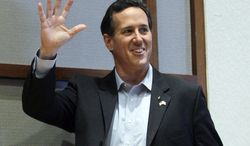 In this Monday, March 12, 2012, photo, Republican presidential candidate, former Pennsylvania Sen. Rick Santorum campaign in Montgomery, Ala. Santorum won the Republican presidential primary Tuesday, March 13, in Alabama (AP Photo/Eric Gay)