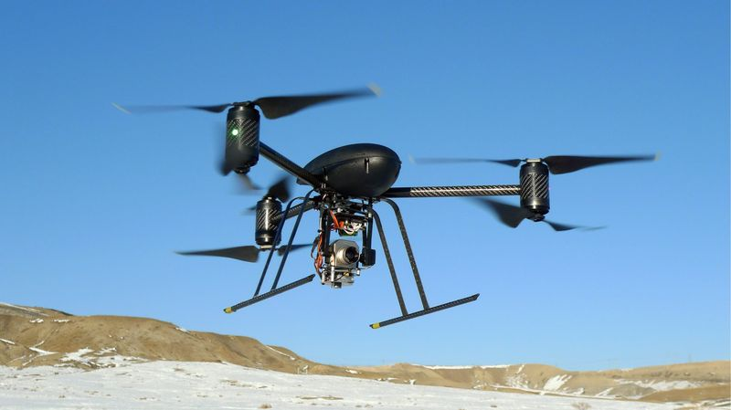 A Draganflyer X6 drone lent to the Mesa County, Colo., Sheriff's Department in 2009 is used in search-and-rescue, finding