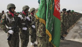Afghan soldiers take positions during a graduation ceremony at a military training center in Kabul, Afghanistan, on March 14, 2012. (Associated Press)