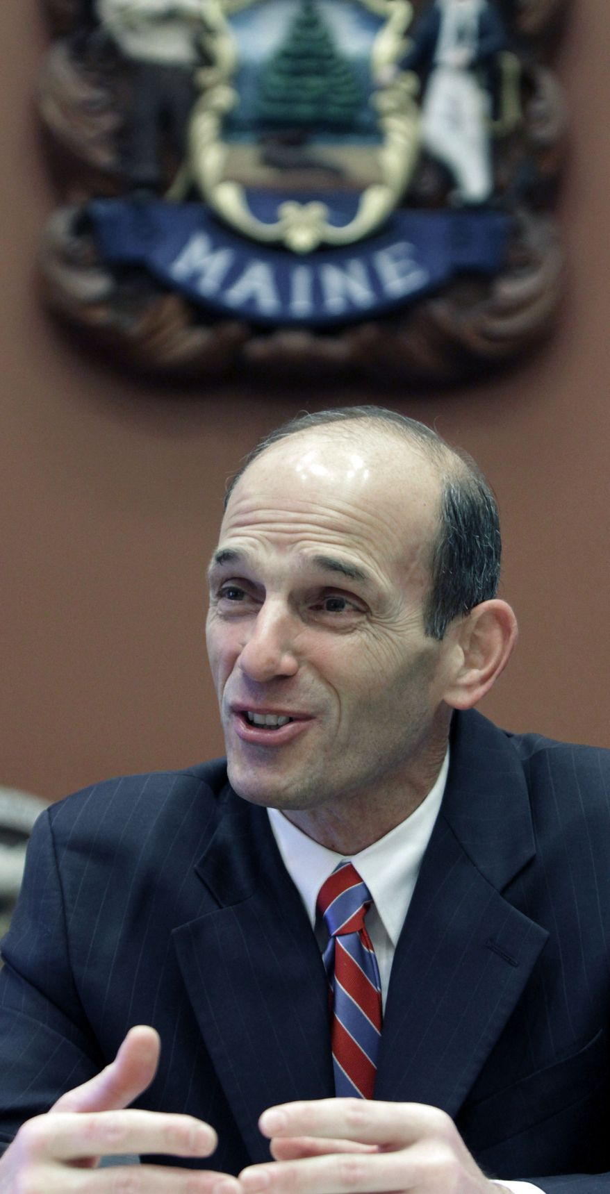** FILE ** Then-Gov. John Baldacci answers questions during an interview in his office at the Statehouse in Augusta, Maine, in December 2010. (AP Photo/Pat Wellenbach)