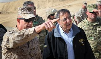 Defense Secretary Leon Panetta is greeted by Col. John Shafer after arriving to greet troops at Forward Operating Base Shukvani, Afghanistan, Wednesday, March 14, 2012. (AP Photo/Scott Olson, Pool)