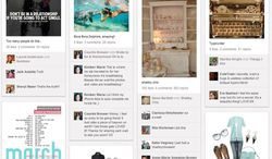 This screen shot taken Feb. 24, 2012, shows a page of women's products from Pinterest.com. A virtual pinboard or scrapbook, the site allows users to collect and organize favorite images and ideas. (Associated Press/Pinterest)