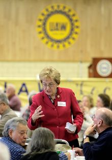 """GOP House hopeful Samuel Joseph Wurzelbacher, aka """"Joe the Plumber,"""" faces long odds in his race against 15-term Democratic Rep. Marcy Kaptur, seen here campaigning at a luncheon for retired autoworkers in Parma, Ohio, in January. (Associated Press)"""