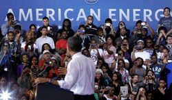 """""""Every time prices start to go up - especially in an election year - politicians dust off their three-point plans for $2 gasoline. They head down to the pump, make sure a few cameras are following them, and start acting like they can wave a magic wand and you'll have cheap gas forever,"""" President Obama said at Prince George's Community College in Largo on Thursday. (Associated Press)"""