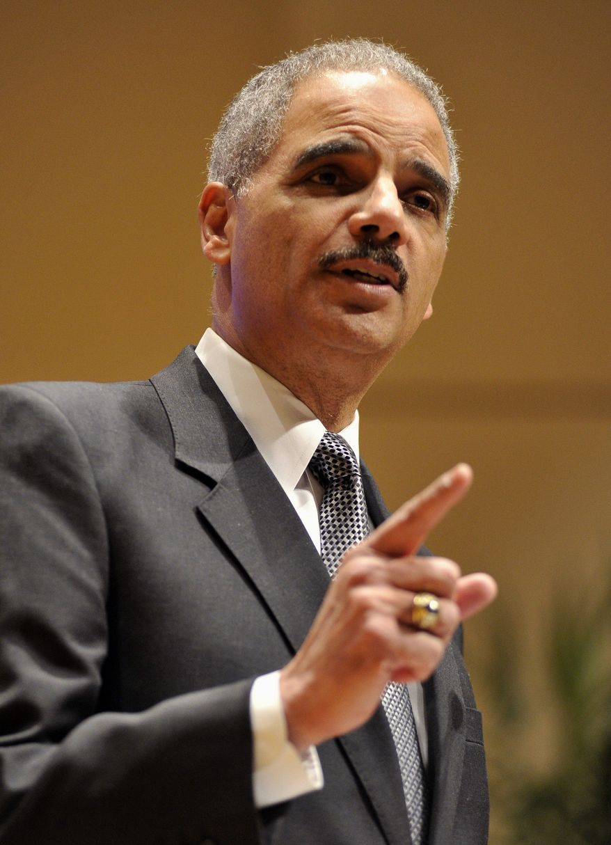 **FILE** Attorney General Eric Holder speaks March 5, 2012, at the Northwestern University law school in Chicago. (Associated Press)