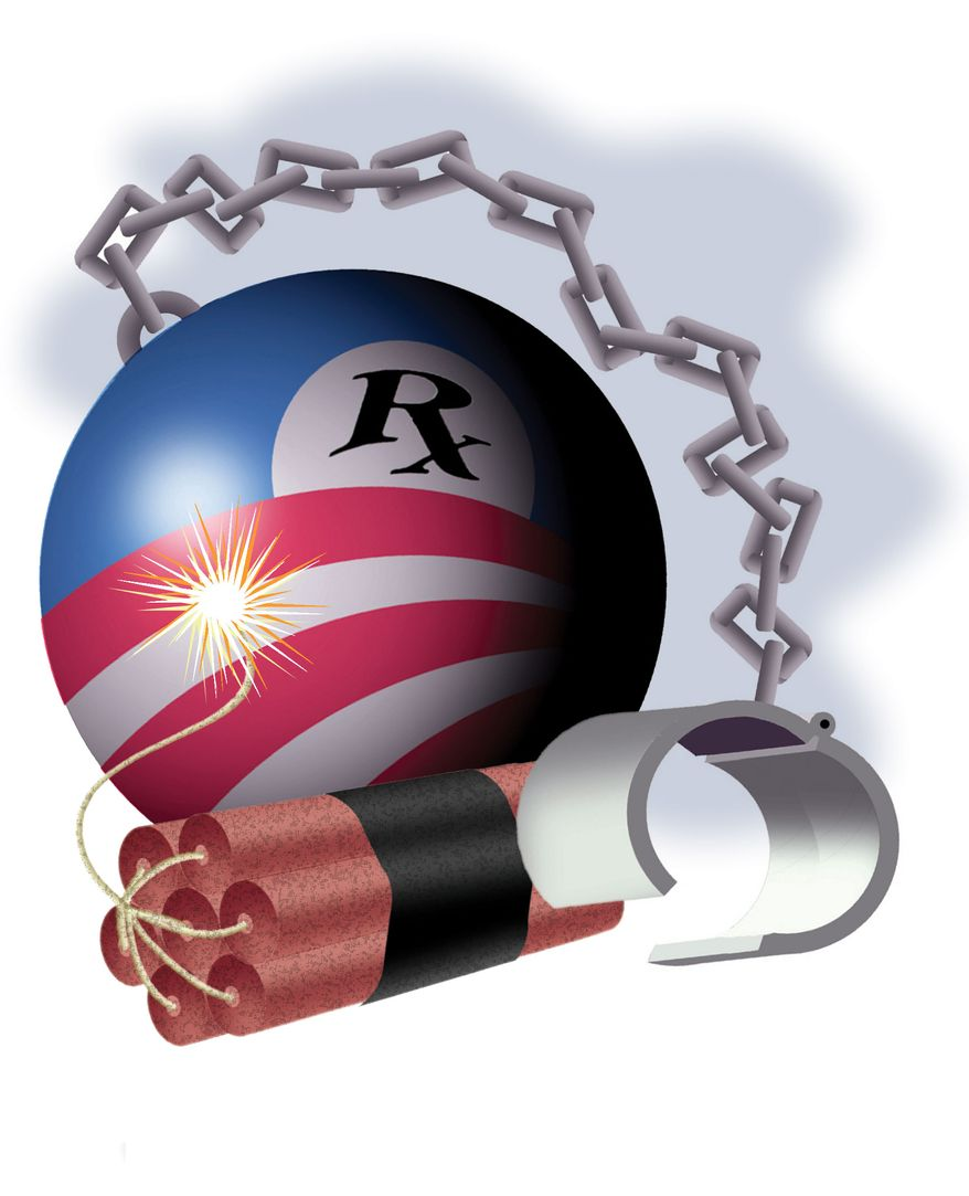 Illustration: Blow up Obamacare by Alexander Hunter for The Washington Times