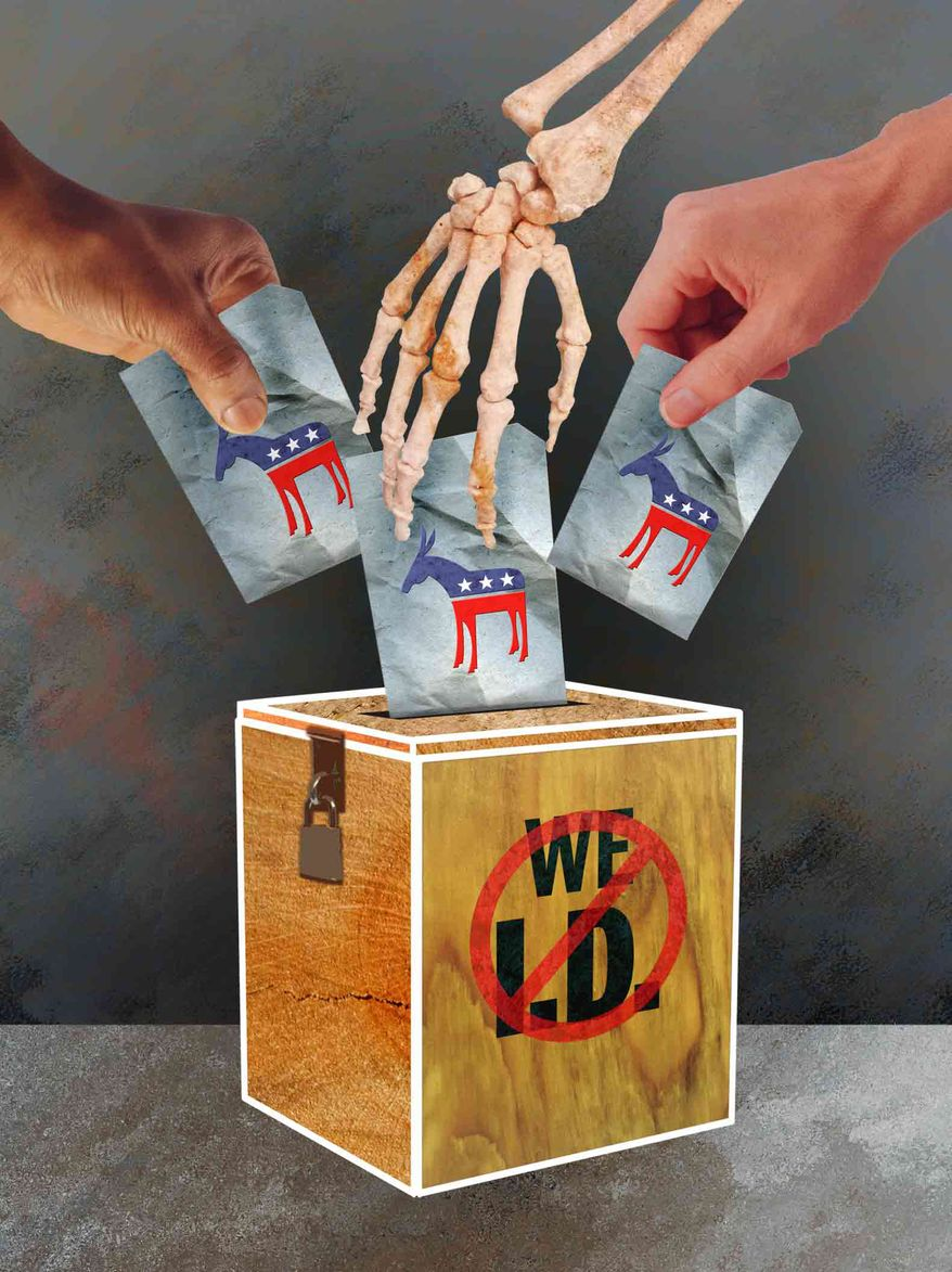 Illustration: Voter ID by Greg Groesch for The Washington Times