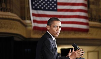 President Obama speaks March, 16, 2012, during a 'Lawyers for Obama Luncheon' fundraiser at the Palmer House Hotel in Chicago. (Associated Press)