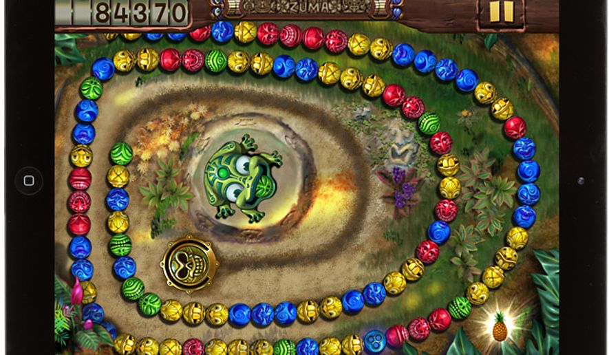 A frog is on a mission of stone sphere destruction in the iPad game Zuma's Revenge! HD.