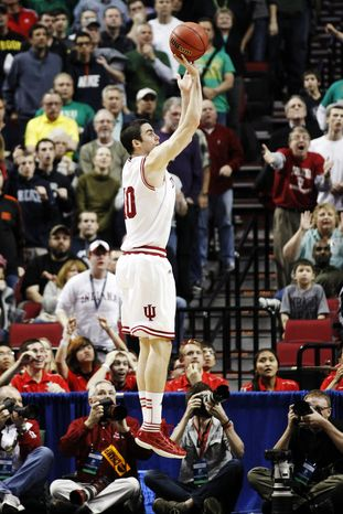 Indiana forward Will Sheehey takes the game-winning shot against Virginia Commonwealth during the NCAA college basketball tournament third-round game in Portland, Ore., Saturday, March 17, 2012. Indiana won 63-61. (AP Photo/Rick Bowmer)