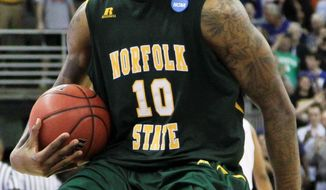 Kyle O'Quinn rang up 26 points and 14 rebounds in No. 15 Norfolk State's 86-84 victory over No. 2 Missouri on Friday. (Associated Press)