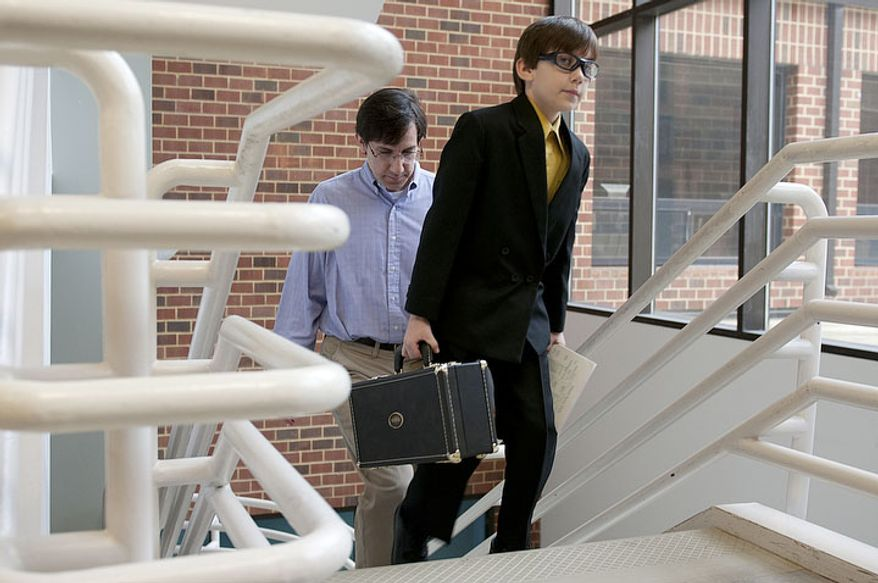 Forrest Johnston head over to Harris Theatre on the campus of George Mason University, where Forrest will compete in the finals round of the National Trumpet Competition on Sunday, March 18, 2012. This is Forrest's third year in the competition, and his second year making it to the finals. (Barbara L. Salisbury/The Washington Times)
